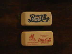 2 VINTAGE ERASERS COCA COLA AND PEPSI