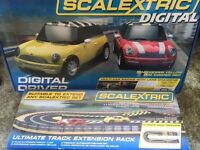 SCALEXTRIC DIGITAL. 2 Mini Coopers + track extension. Hardly used
