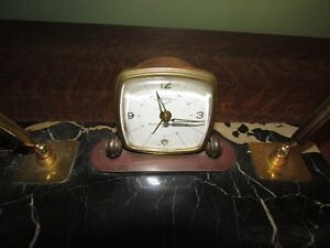 Marble desk top pen/pencil holder with a clock