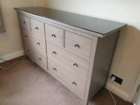 IKEA grey brown bedroom large chest of drawers ( small scratches)