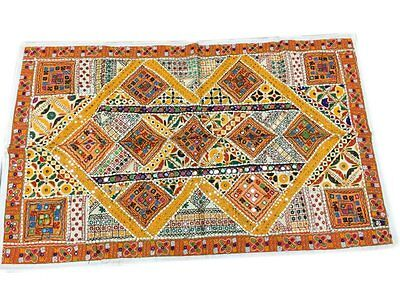 INDIAN SEQUIN EMBROIDERY VINTAGE COVER SARI YELLOW TAPESTRY WALL HANGING DECOR Sequin Sari Tapestry