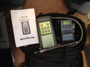 Combustion gas analyser for gas fitters, pipe threader, fittings