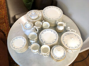 China (blue and white floral with gold edging)