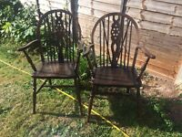 Wheel back carver chairs