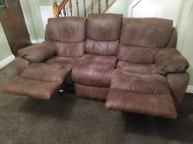3 SEATER RECLINER SOFA & RECLINER CHAIR BROWN SUEDE NUBUCK LEATHER