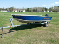 14FT PRINCECRAFT BOAT WITH 15 HP EVENRUDE FOUR STROKE