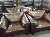 As new full chestnut brown leather 3 11 sofa set