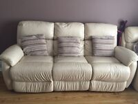 Cream leather ELECTRIC RECLINER 3 seater settee