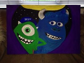 Monsters inc hand painted picture canvas