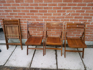 Vintage Wooden Folding Chairs  (4)