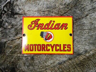 VINTAGE INDIAN MOTORCYCLES PORCELAIN SIGN ROADMASTER CHALLENGER CHIEF SCOUT OIL
