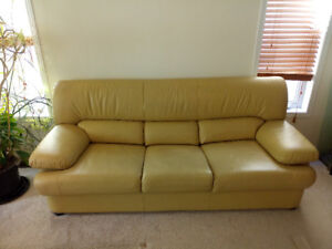 Italian Leather Couch & Reclining Love Seat (Like New)