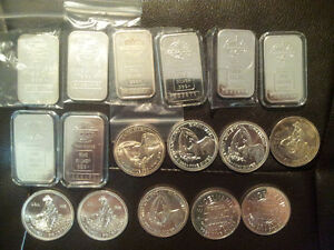 17oz  Mixed Lot of Pure .999 Silver ENGELHARD Bars and Rounds