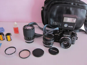 Olympus OM10 Film Camera; 3 Lenses, Flash, Bag