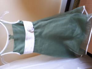 Girls Flower Dresses - One White One Green - 2 Available