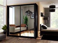 * GET IT TODAY== NEW BERLIN 2 DOOR FULL MIRROR SLIDING DOORS GERMAN WARDROBE IN 4 SIZES AND COLORS