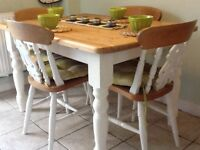 Pine farmhouse dining table(4) chairs