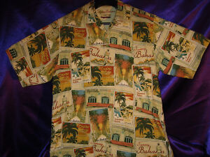 Tommy Bahama Vintage Men's S. S. Shirt-Large-Las Vegas-Silk