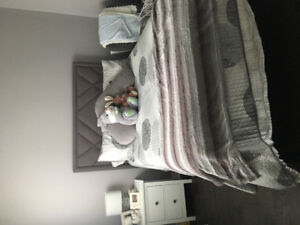 Complete bed frame and mattress/box spring -Barely used