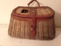 Antique fishing creel straw fish basket leather water tool