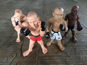 Lot of 4 Round 5 MMA UFC Action Figures *GSP* *SILVA*
