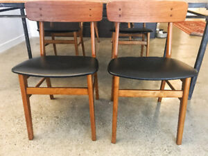 4 Vintage, MCM 1960's Teak & Leather Dining Chairs