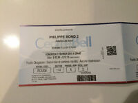 CENTRE BELL PHILIPPE BOND 2 3 BILLETS TICKETS ROUGE RED