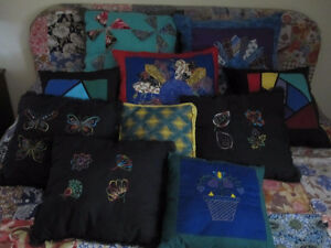 Pillows, bags, wall hangings