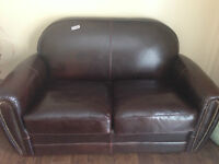 GENUINE BROWN LEATHER LOVESEAT