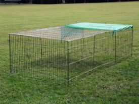 Chicken or Guinea Pig or Rabbit Wire Run Folds Flat - Used