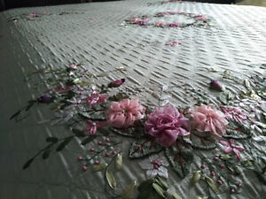 Ribbon Embroidery Bedspread **Handcrafted, Brand New**