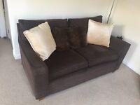 2 x medium Next dark brown fabric sofas