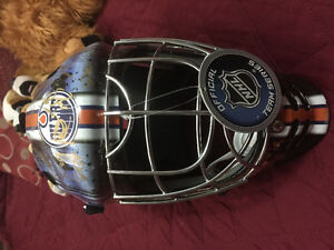 Edmonton Oilers goalie mask signed