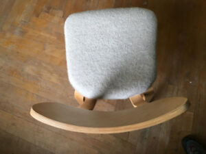 Vintage mid century modern bent plywood chair with wool seat