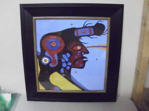 NORVAL MORRISSEAU PRINT FRAME IS 20 1/2 INCHES X 19 1/2 INCHES