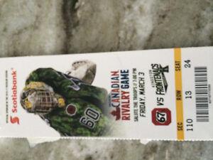 3 Frontenacs hockey tickets Friday march 3
