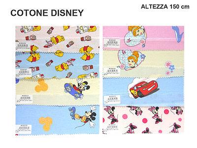 TESSUTO STOFFA COTONE DISNEY A METRO ALTEZZA 150 CM MICKEY CARS WINNIE THE POOH