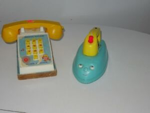 Ancien Fisher Price 125 Music Box Iron 150 Pop Up Pal Phone
