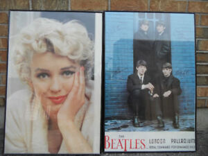 Marilyn Monroe and the Beatles picture glass frame