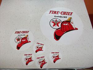 6 TEXACO FIRE CHIEF sticker  autocollant pompe a essence gas