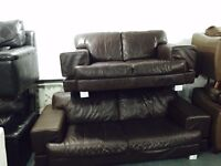 Full brown leather 3 and 2 sofa on chrome legs