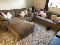2 x 3 seater sofas and giant footstool
