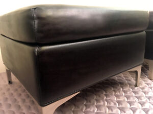 Two Mid Century Top Grain Leather Foot Stools  SEE VIDEO