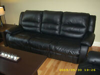 RECLINER LEATHER COUCH AND CHAIR