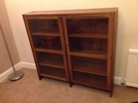 Solid wood bookcase with glass front doors