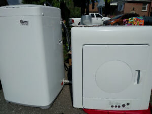 Haier washer + dryer apt size new, lightly used, mint condition