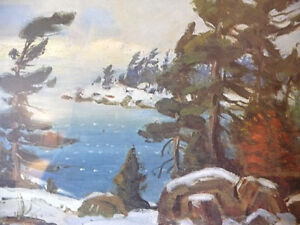 "Iconic Painting by Frank Panabaker ""Winter Storm"" 1957 Signed/Nu Stratford Kitchener Area image 8"