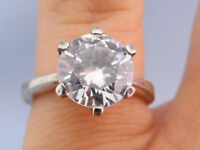 Stunning Vintage CZ Solitaire Thin Band .925 Silver Ring, Size 5
