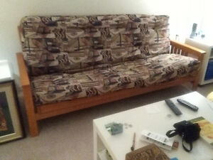Solid Wood Futon Frame with Year Old Mattress