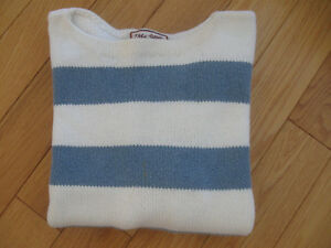 LADY'S 100% COTTON STRIPED LONG-SLEEVED SWEATER